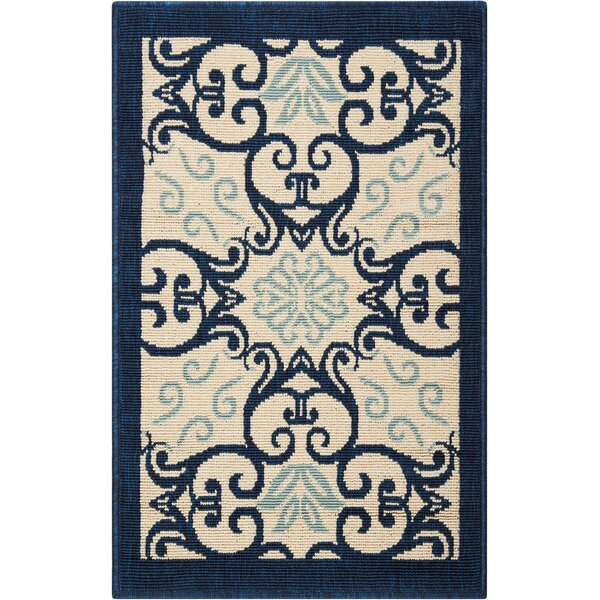 Carleton Ivory/Navy Indoor/Outdoor Area Rug by Alcott Hill