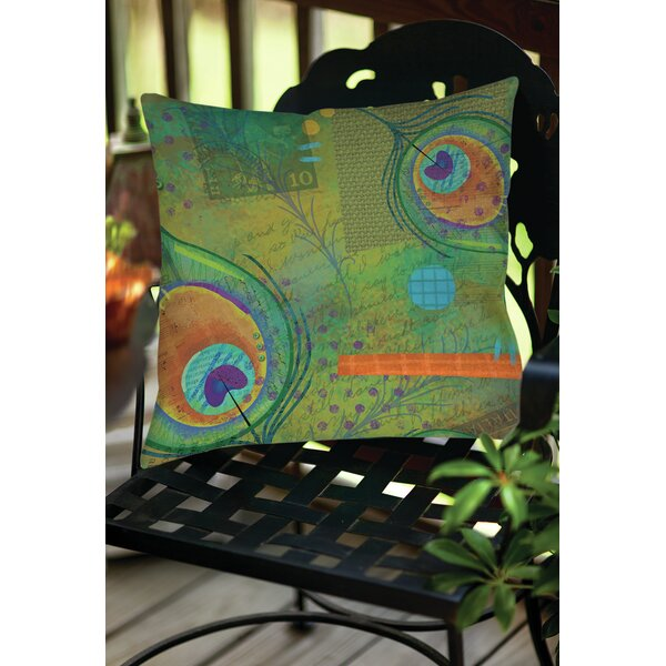 Peacock Pattern 2 Indoor/Outdoor Throw Pillow by Manual Woodworkers & Weavers
