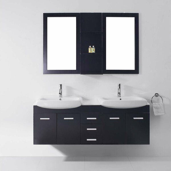 Deacon 59 Double Bathroom Vanity Set with White Stone Top and Mirror by Orren Ellis