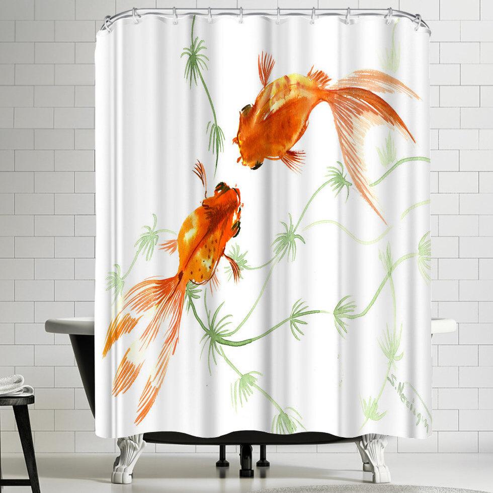 East Urban Home Suren Nersisyan Feng Shui Goldfish Koi 2 Shower Curtain