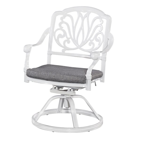 Floral Blossom Swivel Patio Dining Chair with Cushion by Home Styles