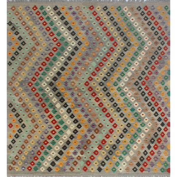 Corda Hand-Knotted Wool Gray/Red Area Rug by Bungalow Rose
