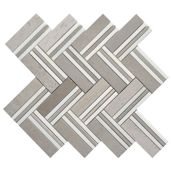 Quilt Mohegan Random Sized Marble Mosaic Tile in White/Gray by Matrix Stone USA