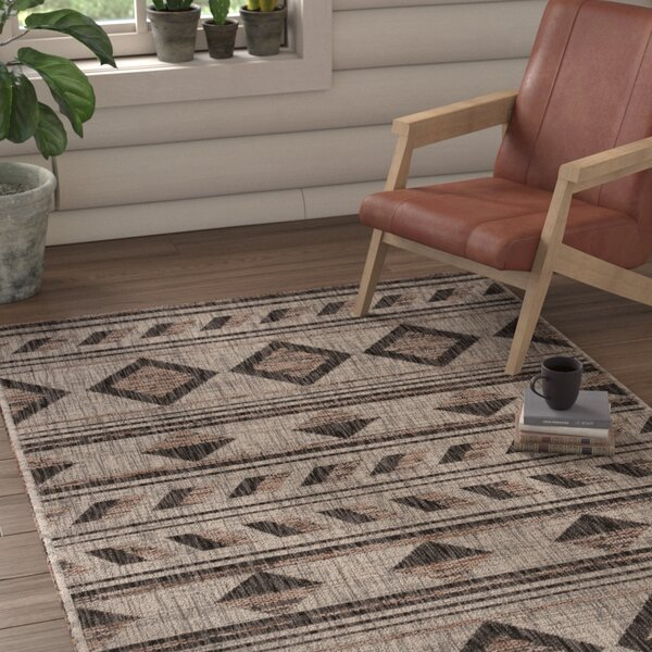 Mathes Gray/Black Indoor/Outdoor Area Rug by Union Rustic