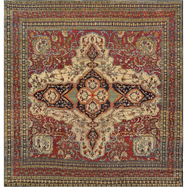 One-of-a-Kind Antique Isfahan Handwoven Wool Red/Cream Indoor Area Rug by Mansour
