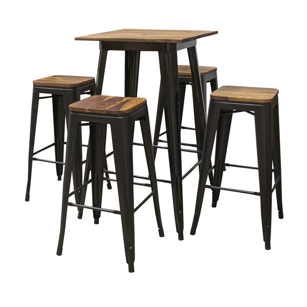 Weisgerber Pub 5 Piece Bar Height Solid Wood Dining Set by 17 Stories 17 Stories