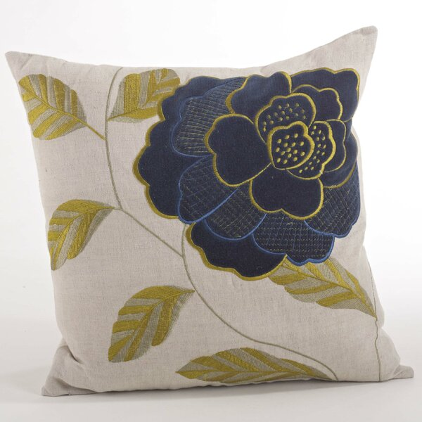 Imani Embroidered Flower Design Throw Pillow by Saro