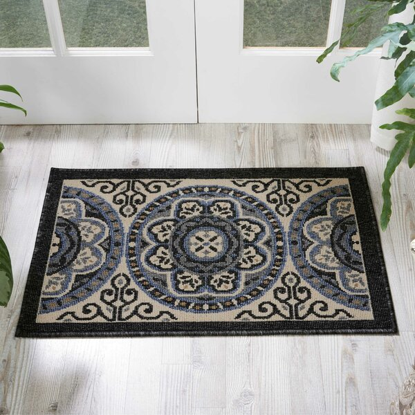 Ashby Floral Ivory/Charcoal Indoor/Outdoor Area Rug