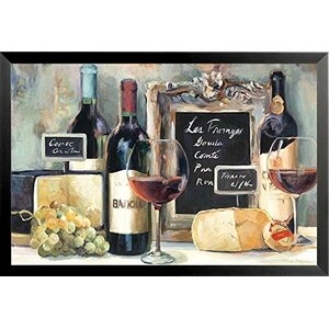 'Les Fromages Wine and Cheeses' by Marilyn Hageman Framed Graphic Art by Buy Art For Less