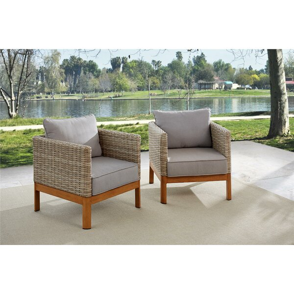 Nanette Patio Lounge Chairs with Cushions (Set of 2) by Greyleigh