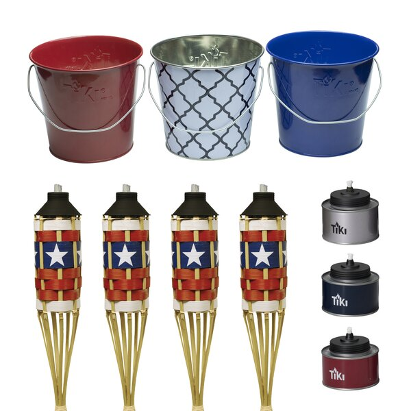10 Piece Tin Americana Wax Bucket and Tiki Table Torch Set by TIKI Brand