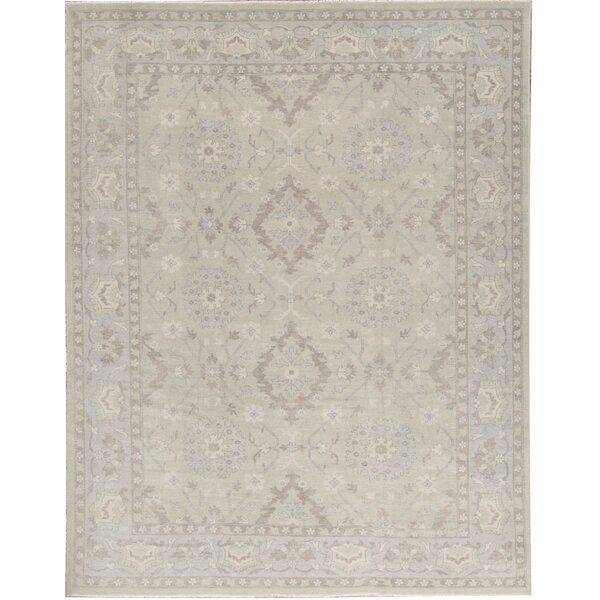 Oriental Hand-Knotted Wool Green Area Rug