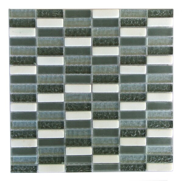 Quartz 0.63 x 2 Glass and Stone Mosaic Tile in Black Walnut by Abolos