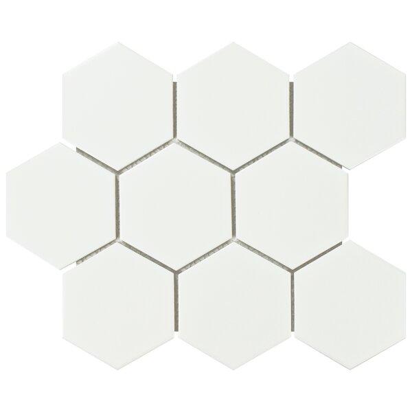 Retro Super Hex 3.73 x 3.73 Porcelain Mosaic Field Tile in Matte White by EliteTile