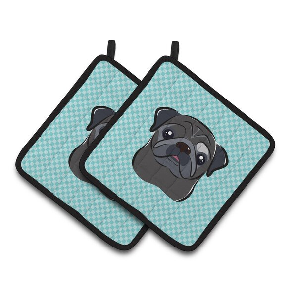 Checkerboard Pug Potholder (Set of 2) by Caroline's Treasures