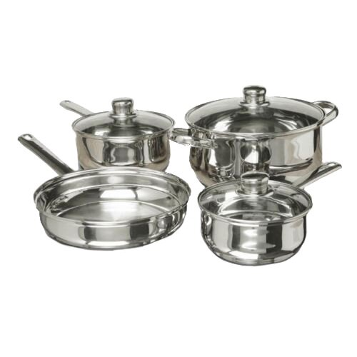 7 Piece Polished Stainless Steel Cookware Set by C