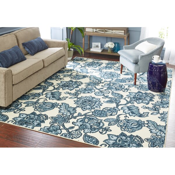 Miriam Arranged Melody Blue/Cream Area Rug by Charlton Home