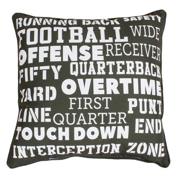 Dudelange Football Words Reversible Throw Pillow by Zoomie Kids