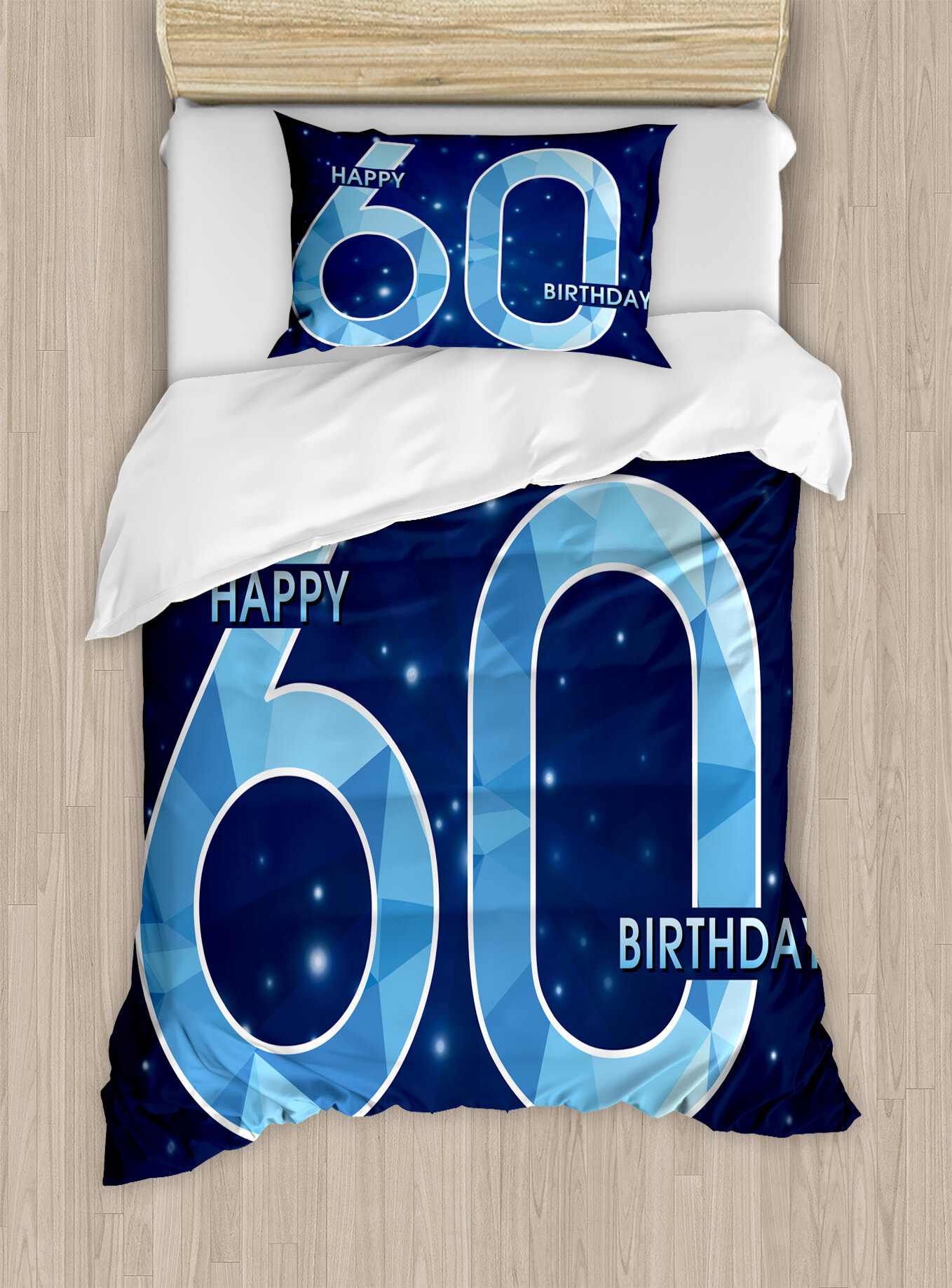 Ambesonne 60th Birthday Decorations Space Theme Stage With Star Like Abstract Details Art Duvet Cover Set