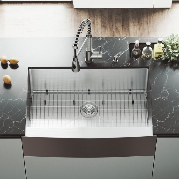All in One 33 L x 22 W Farmhouse Kitchen Sink with Faucet, Grid, Strainer and Soap Dispenser by VIGO