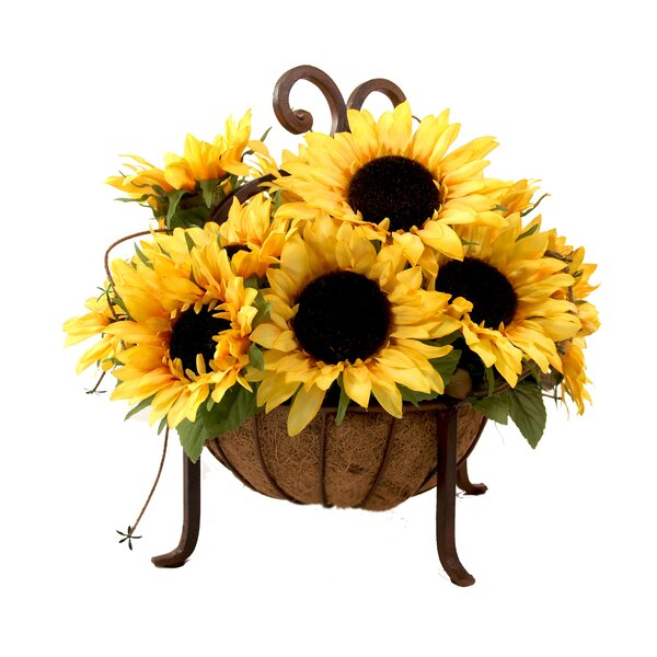 Sunflower Centerpiece in Metal Basket by Creative Displays, Inc.