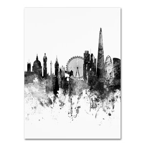 'London Skyline Tall' Graphic Art on Wrapped Canvas by Ivy Bronx