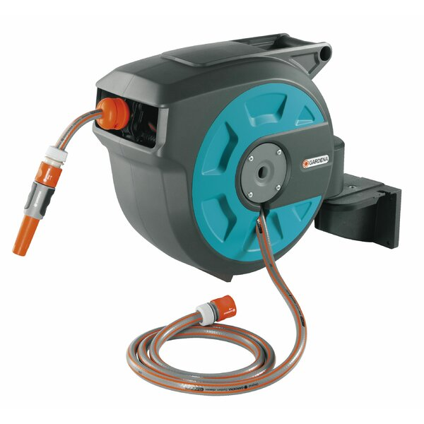 Plastic Wall-Mounted Hose Reel with Automatic Rewind by Gardena