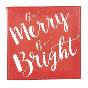 'Merry and Bright' Textual Art on Wrapped Canvas