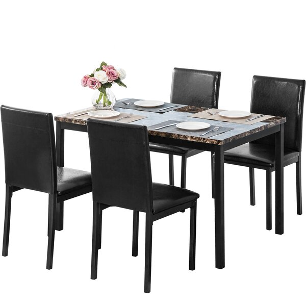 5 Piece Faux Marble Dining Set by Winston Porter Winston Porter