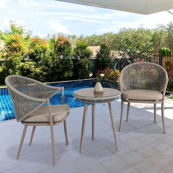 Ringold 3 Piece Bistro Set with Cushions by Bungalow Rose