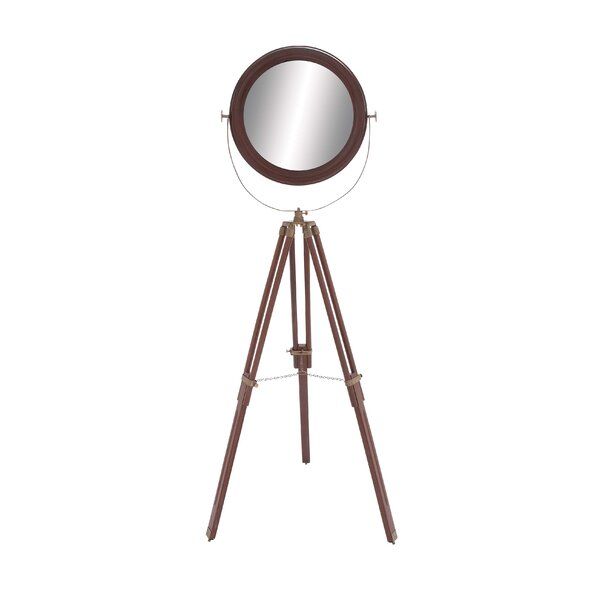 Wood Round Floor Accent Wall Mirror by Cole & Grey