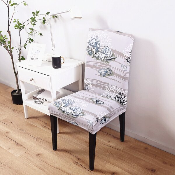 Elegant Box Cushion Dining Chair Slipcover by Highland Dunes