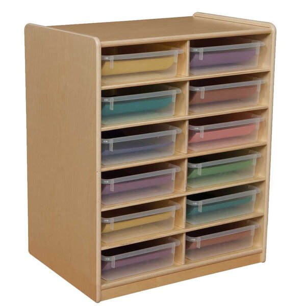 Letter Storage Unit 12 Compartment Cubby with Trays by Wood Designs