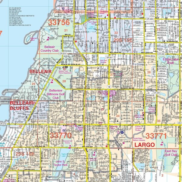 Laminated Ra-Pinellas County FL Wall Map, 72 x 54 by Universal Map