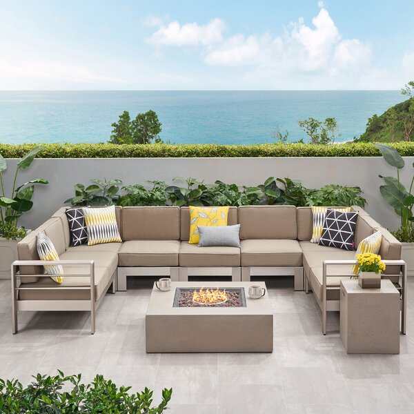 Destinee Outdoor 9 Piece Sectional Seating Group with Cushions by Orren Ellis