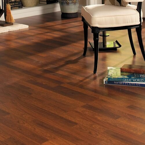 Home with Sound 8 x 47 x 7mm Hickory Laminate Flooring in Brownstone by Quick-Step