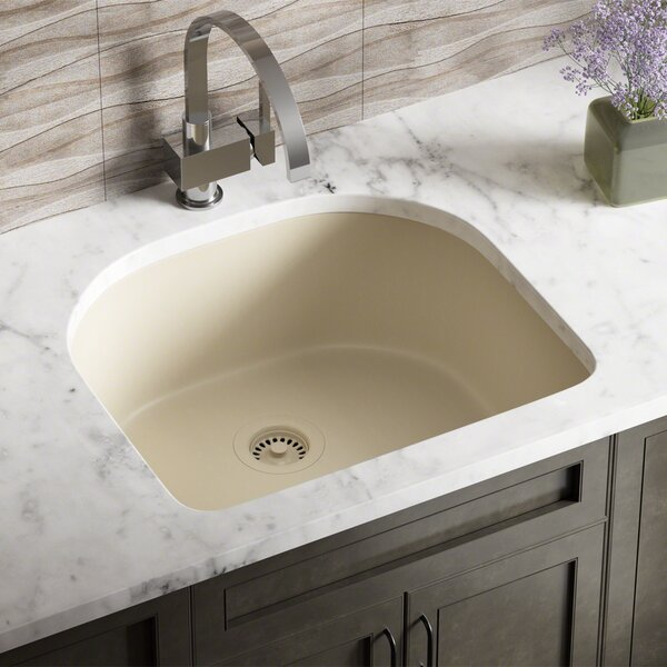 Granite Composite 25 L x 22 W Undermount Kitchen Sink with Flange by MR Direct