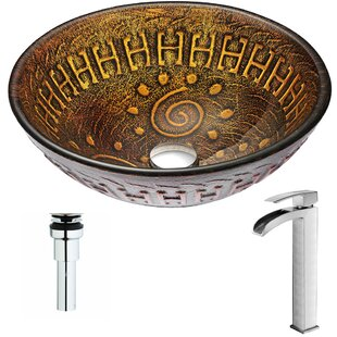 Affordable Opus Glass Circular Vessel Bathroom Sink with Faucet By ANZZI