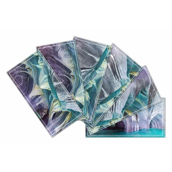 Crystal 3 x 6 Beveled Glass Subway Tile in Blue/Purple by Upscale Designs by EMA
