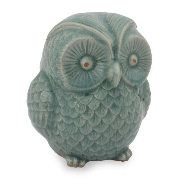 Sweet Celadon Ceramic Owl Figurine by Novica