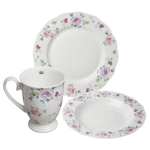Onida Bone China Romantic Rose 12 Piece Dinnerware Set, Service for 4