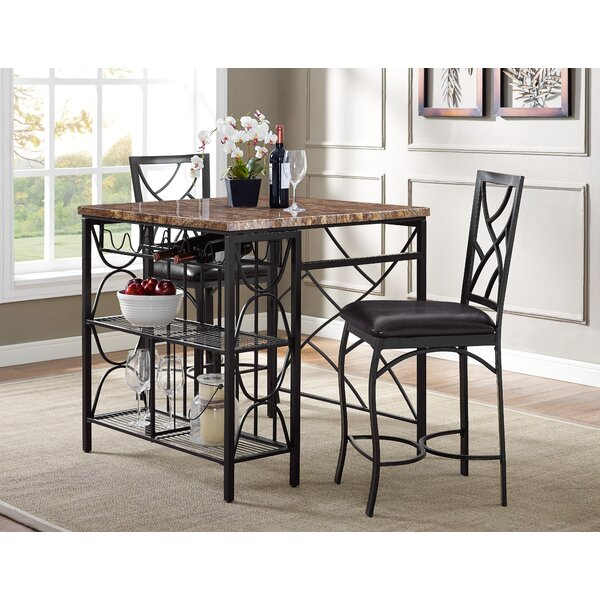 Vaughan Kitchen 3 Piece Breakfast Nook Dining Set by Fleur De Lis Living