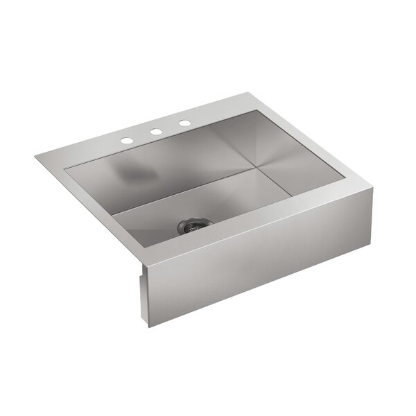 Vault 29-3/4 x 24-5/16 x 9-5/16 Top-Mount Single-Bowl Stainless Steel Kitchen Sink with Shortened Apron-Front for 30Cabinet by Kohler