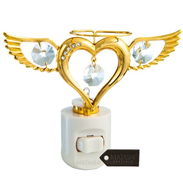 24K Gold Plated Crystal Studded Angel Heart Multi-Colored LED Night Light by Matashi Crystal