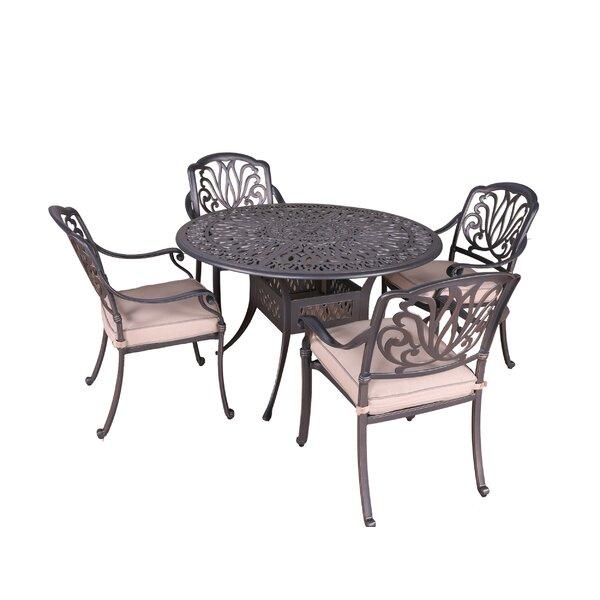 Gunter 5 Piece Dining Set with Sunbrella Cushions by Fleur De Lis Living