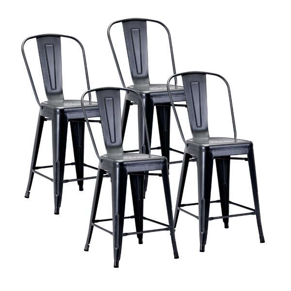 Gainsborough Electroplated Patio Bar Stool (Set Of 4) By 17 Stories