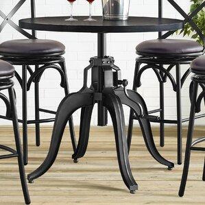 Hardev Industrial Crank Adjustable Pub Table by 17 Stories