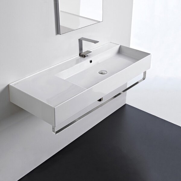 Ceramic 48'' Wall Mounted Bathroom Sink with Overflow by Scarabeo by Nameeks