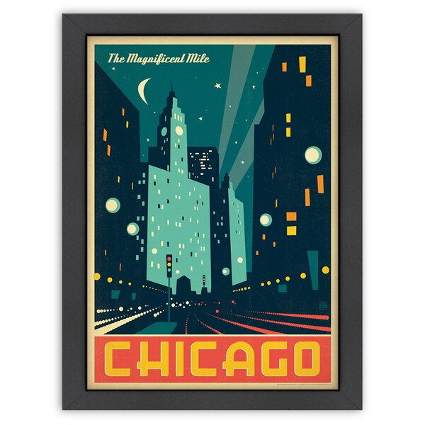 Chicago: Modern Magnificent Mile Framed Vintage Advertisement by East Urban Home