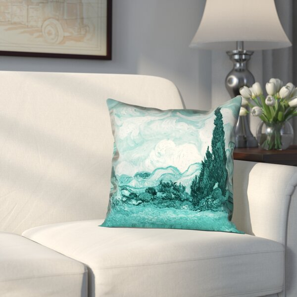 Woodlawn Wheatfield with Cypresses Outdoor Throw Pillow by Alcott Hill